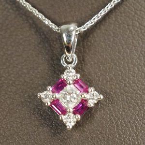 14KW Gold Genuine Ruby & Diamond Pendant W/Chain